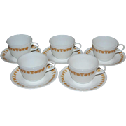 Pyrex / Corelle Butterfly Gold 10-Pc Milk Glass Cup & Saucer Set