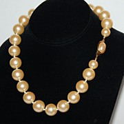 Bold 15 mm Faux Cream Pearl Hand-Knotted Necklace