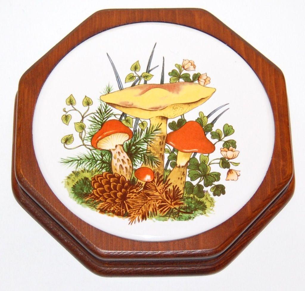 Circa 1970s Ceramic Mushroom Wood Trivet Or Wall Decor From Kitschandcouture On Ruby Lane