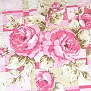 """Vintage Pink Rose Damask Polyester Fabric ~ 36 x 45"""" Bolt"""