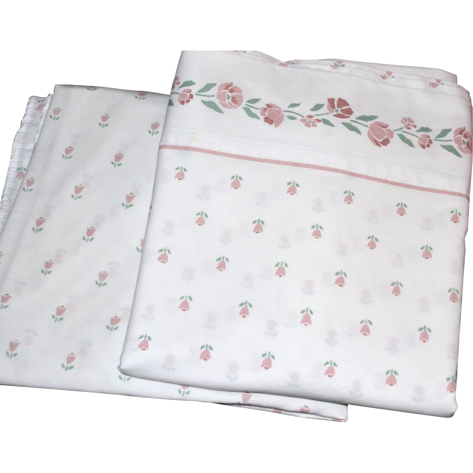 1980s Westpoint Stevens ~ Rose Pink Floral & White Twin Sheet Set