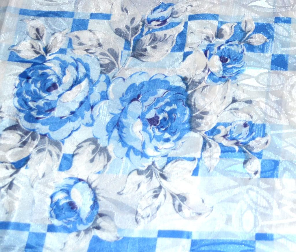 Blue rose damask polyester fabric 36 x 45 bolt kitsch for Fabric store charlotte nc