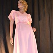 1970s E'n C Jr ~ Easter Pink Eyelet Maxi Dress