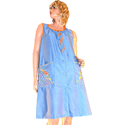 1970s Embroidered Blue Denim-Style Orange Trim Duster Dress