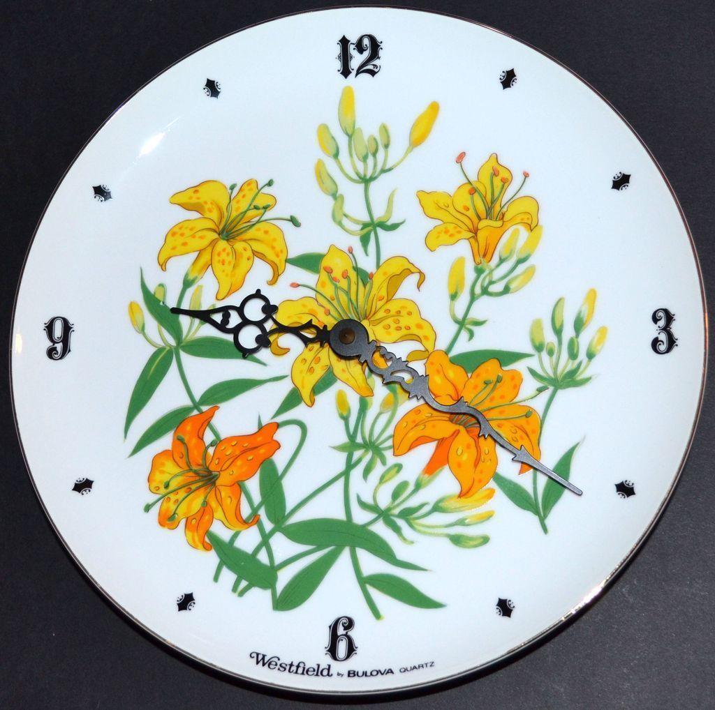 westfield by bulova yellow daffodil flower white porcelain plate