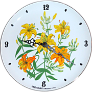 Westfield by Bulova Yellow Daffodil Flower White Porcelain Plate Clock