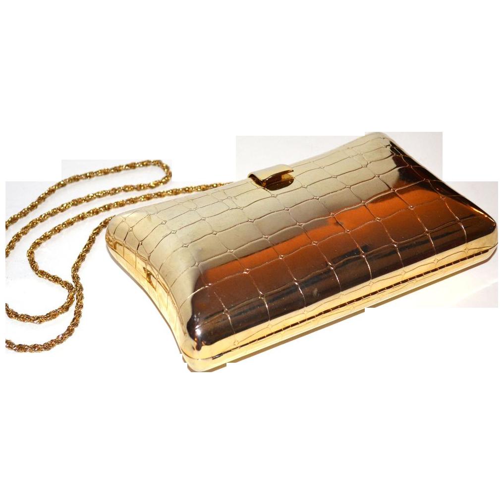 Vintage Faux Crocodile Brass Pillow Purse ~ Clutch/Shoulder Use