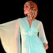 1970s Mint Green Butterfly Sleeve Beaded Evening Gown