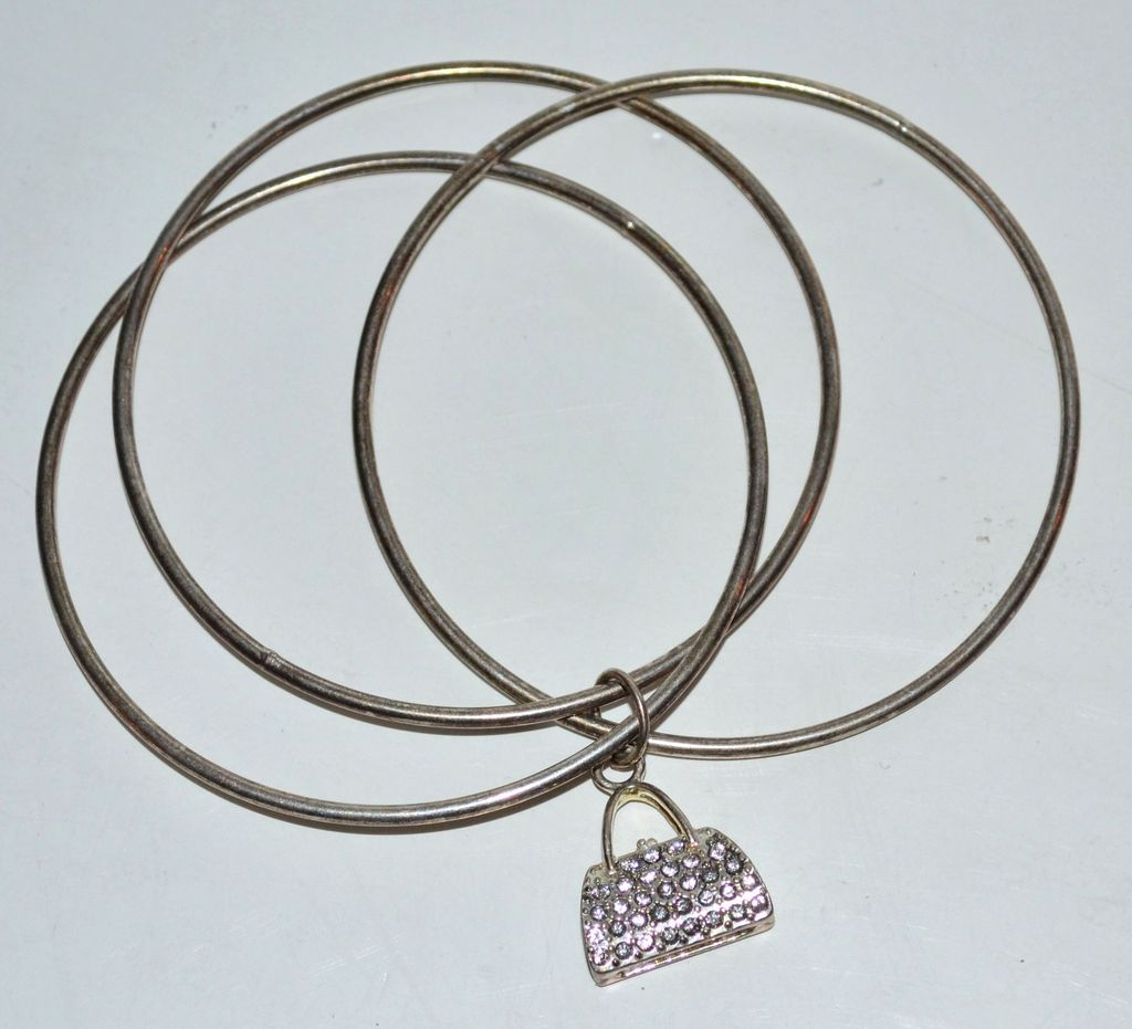 Vintage Silverplate Bangle Bracelet & Rhinestone Purse Charm