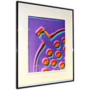 Circa 1981 Karen Goldstein 'Floor Drain' Abstract Purple, Pink & Blue Photograph Wall Art in Original Black Frame