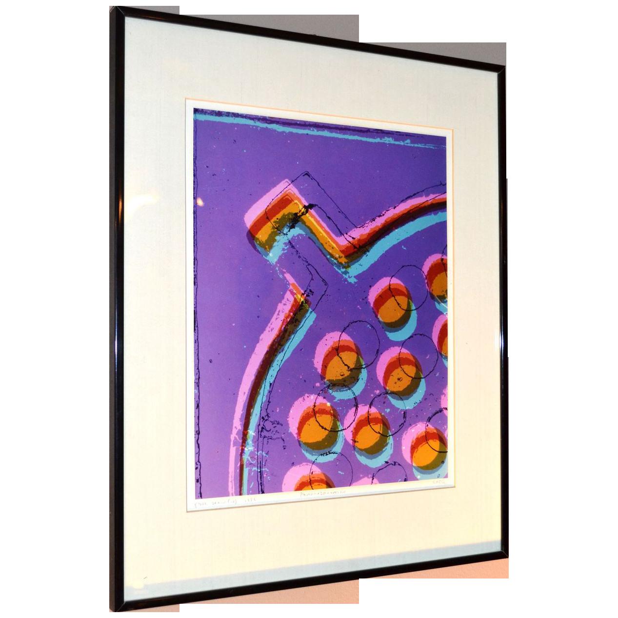Circa 1981 Karen Goldstein 'Floor Drain' Abstract Purple, Pink & Blue Photograph Wall Art in Original Black Frame