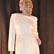 1980s Rina di Montella ~ Cream Faux Pearl & Sequin Dress