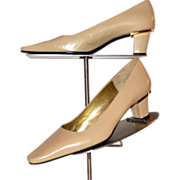 Charles Jourdan Designer Camel Tan Leather Low Heel Pumps w/ Gold Metal Trim