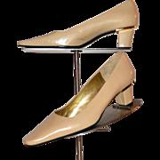 Charles Jourdan Designer Camel Tan Leather Low Heel Pumps w/ Gold Metal Trim
