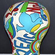 1960s Groovy Peace & Love Fabric Mannequin Head