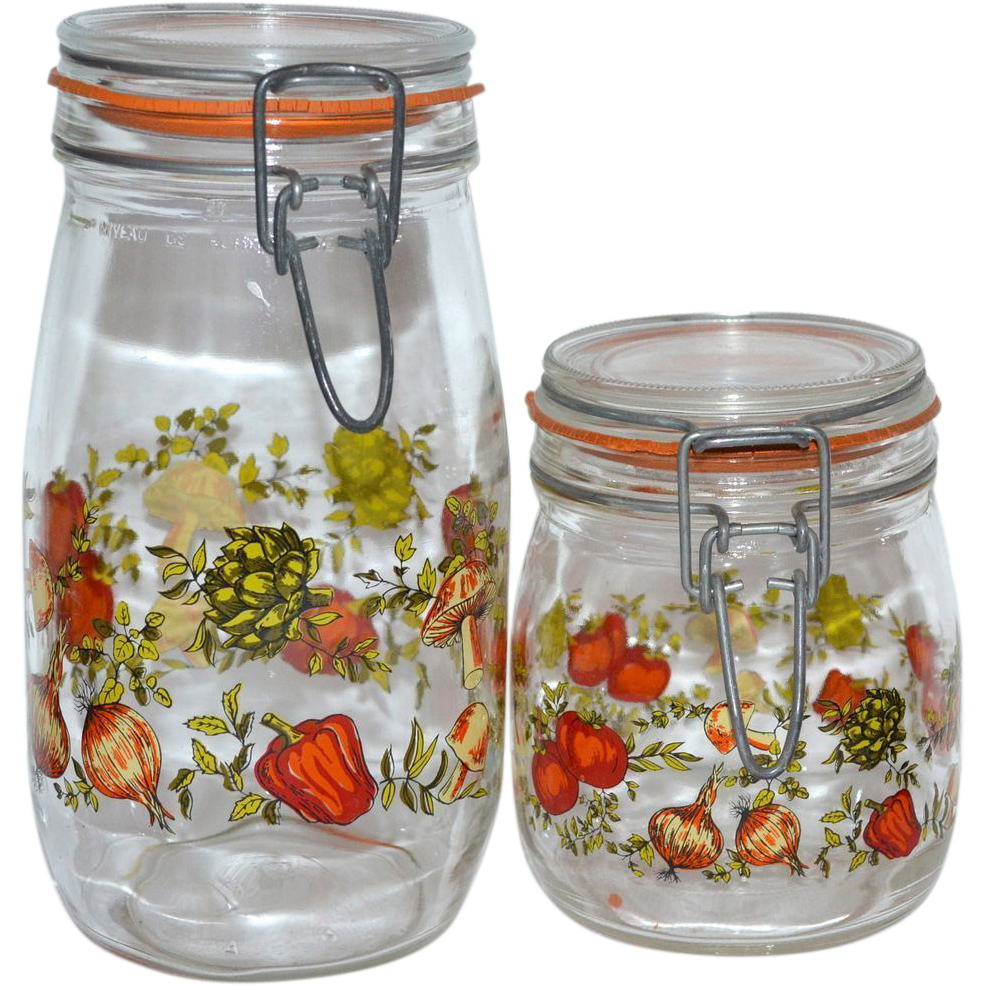 Superbe 1970s Set Of 2 Glass Kitchen Canister Jars ~ France : Kitsch U0026 Couture |  Ruby Lane