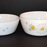 1970s Corning ~ Set of 2 Floral Bouquet Sauce Pans