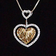 1980s Sterling Vermeil CZ Heart Pendant Necklace