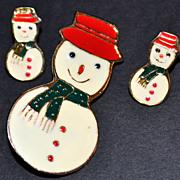 Signed Enamel Snowman Earrings & Pin/Brooch