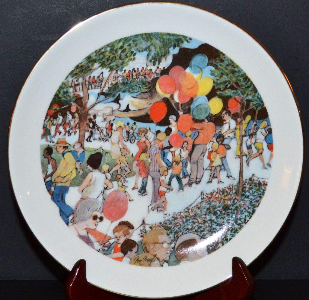 1973 Sunday at the Lincoln Park Zoo ~ Limited Edition Plate