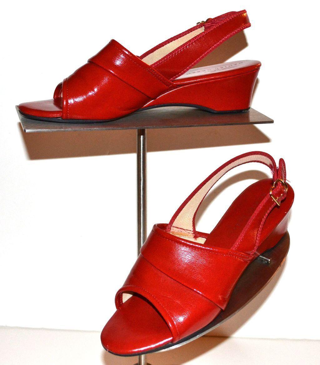 1970s Daniel Green ~ Cherry Red Slip-On Wedge Heels from ...