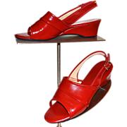 1970s Daniel Green ~ Cherry Red Slip-On Wedge Heels