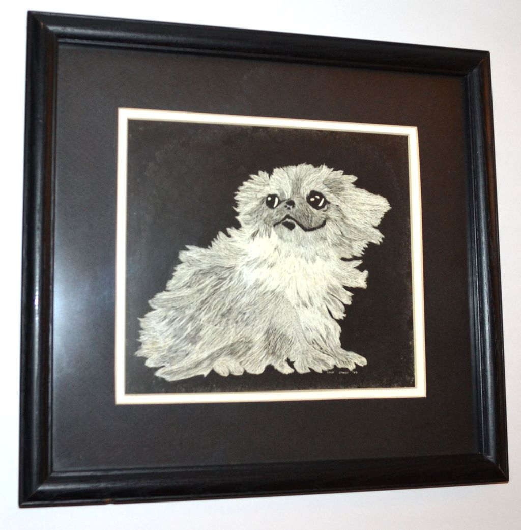1979 Chip Stokes Shih Tzu Pup Etching Framed Print