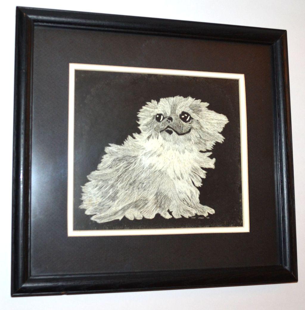 1979 Chip Stokes Shih Tzu Pup Etching Framed Print