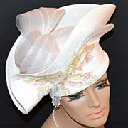 Anthony Design ~ Outrageous Embellished White Hat
