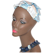 Circa 1940s Baby Blue & White Flower Hair Topper Hat