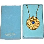 1960s Estee Lauder ~ Youth Dew Solid Perfume Faux Lapis Locket Necklace