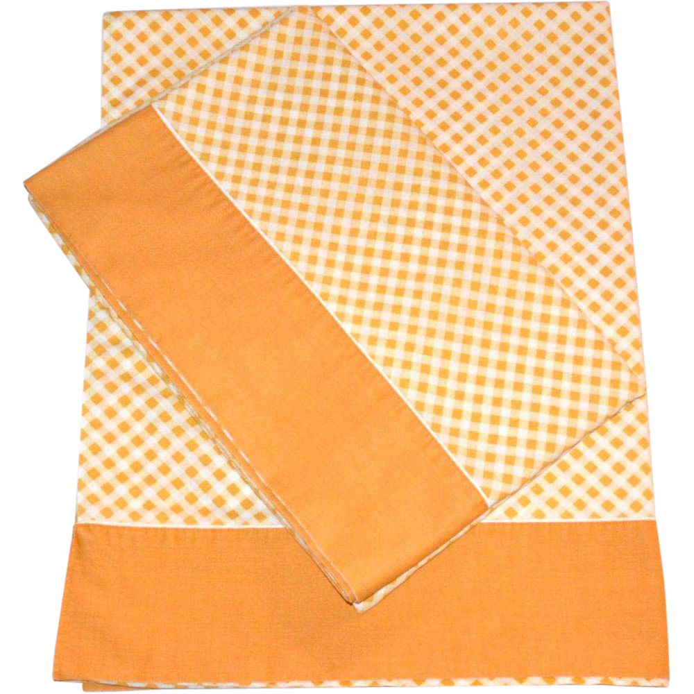 1970s Cannon ~ Mustard Yellow Checkered Twin Flat Sheet ~ 2 Available