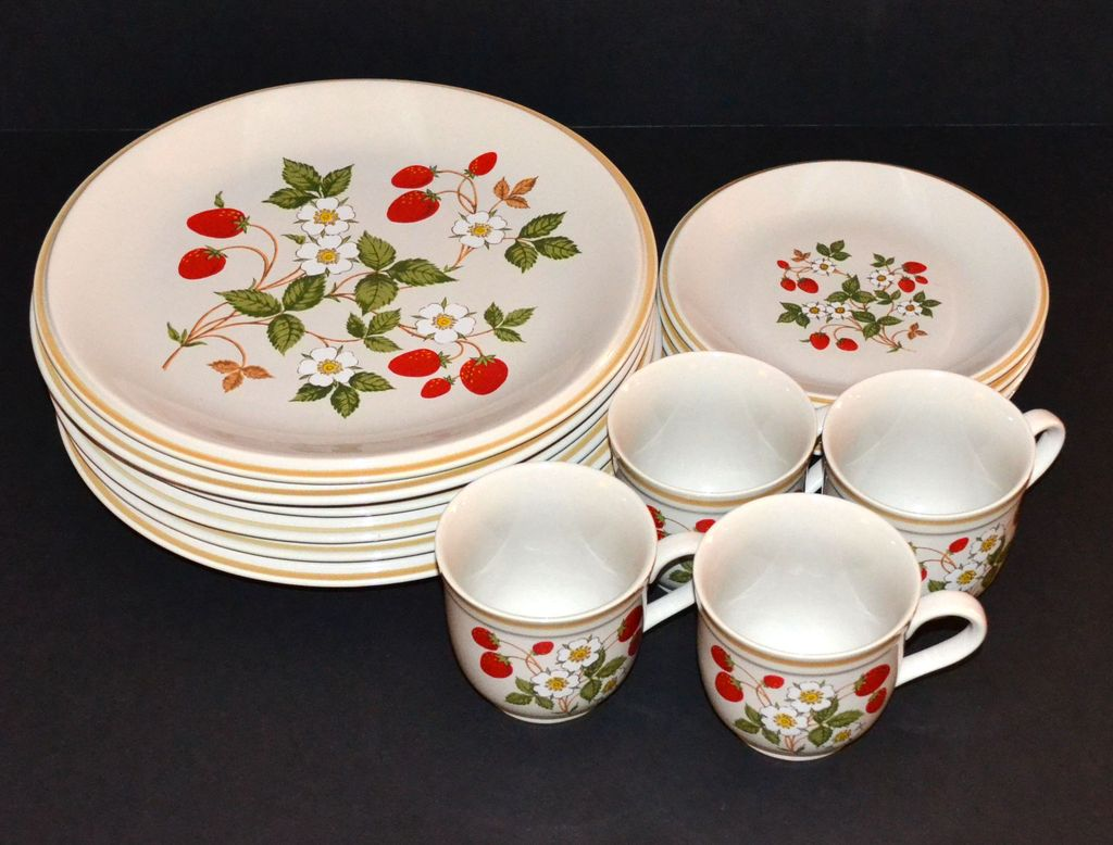 Sheffield Quot Strawberries N Cream Quot 16 Pc Ceramic Dinnerware