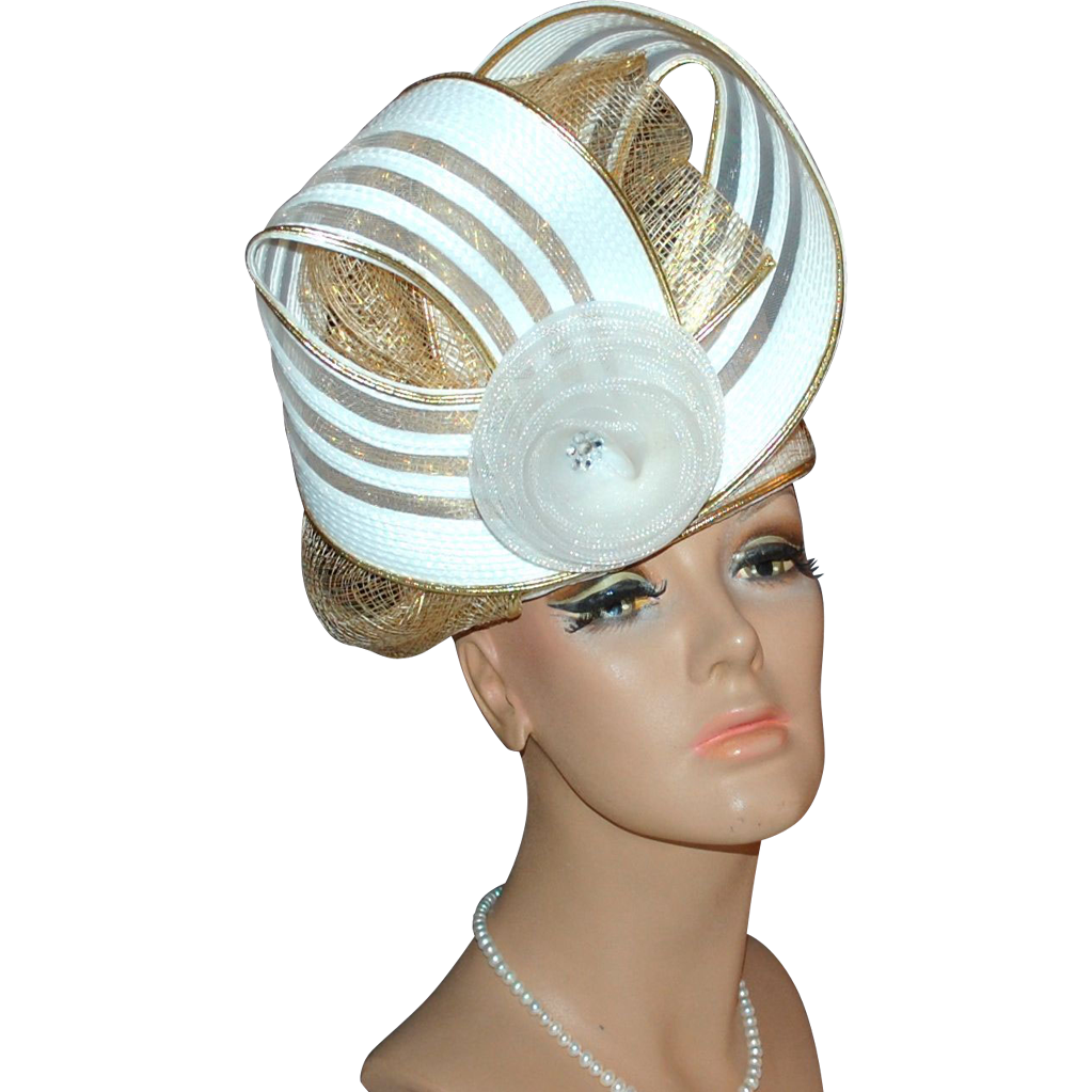 Outrageous White Rhinestone & Gold Trim Hat