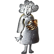 1980s Ultra Craft ~ Pewter Mom-To-Be Maternity Pin w/ Orig Card