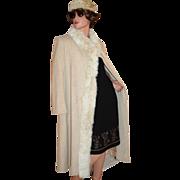 1970s ILGWU Prime Source ~ Cream Wool & Rabbit Fur Coat