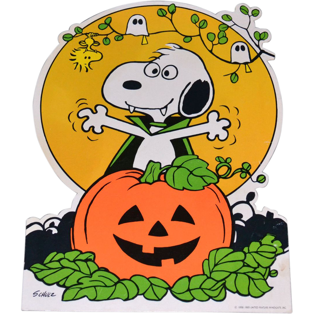 1965 Peanuts Snoopy with Halloween Jack-o-Lantern ...