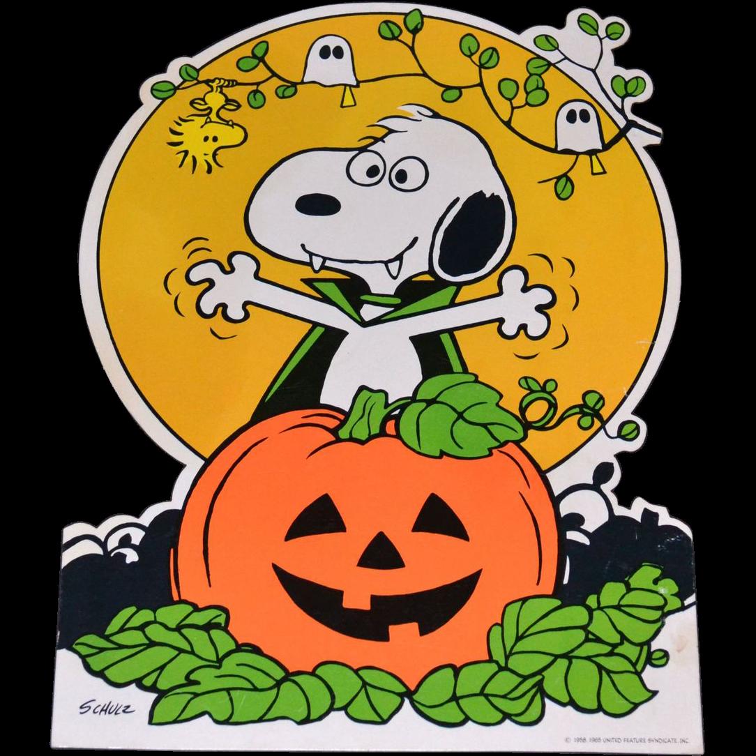 1965 Peanuts Snoopy with Halloween Jack-o-Lantern Cardboard Die Cut