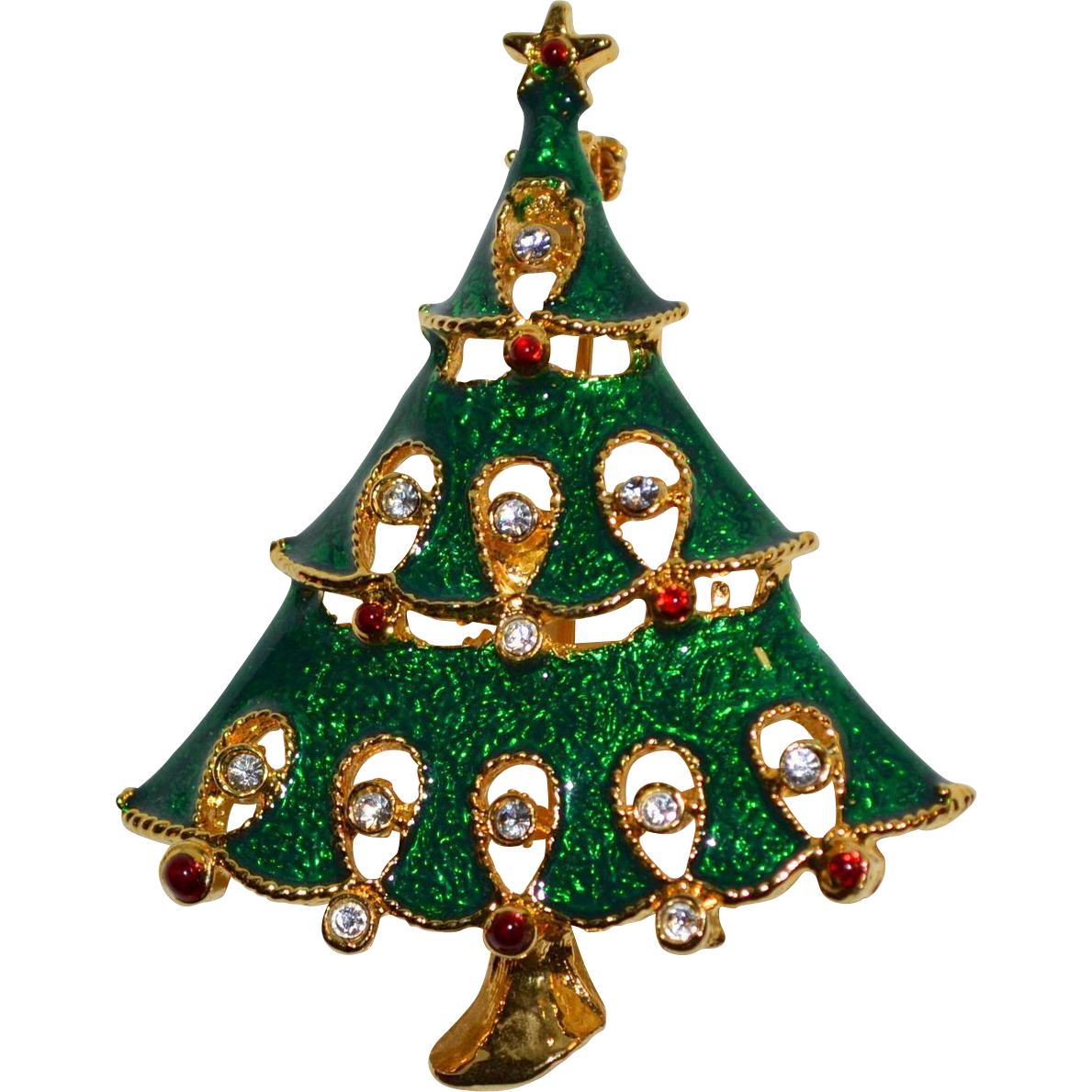 Green Enamel & Rhinestone Christmas Tree Pin/Brooch from ...
