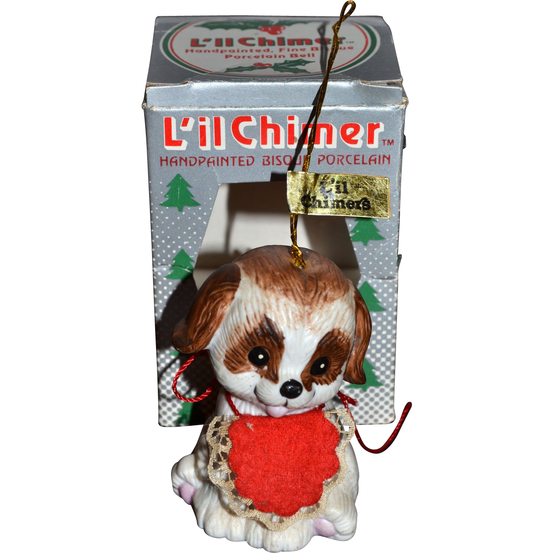 Jasco Li L Chimer Pup Bisque Christmas Bell Ornament W