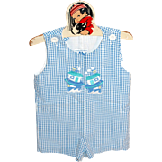1980s Fast Friends ;Blue Checkered Chug Boat Child or Large Doll Romper