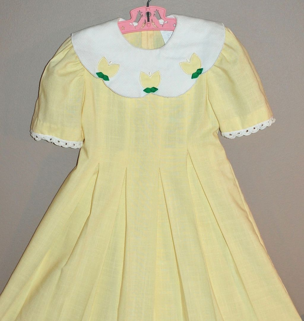 1980s Peaches n' Cream ~ Buttercup Yellow Girl's Dress w/ Scalloped Collar