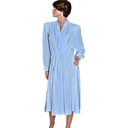 1970s Lilli Ann ILGWU Sky Blue Pleated V-Neck Dress