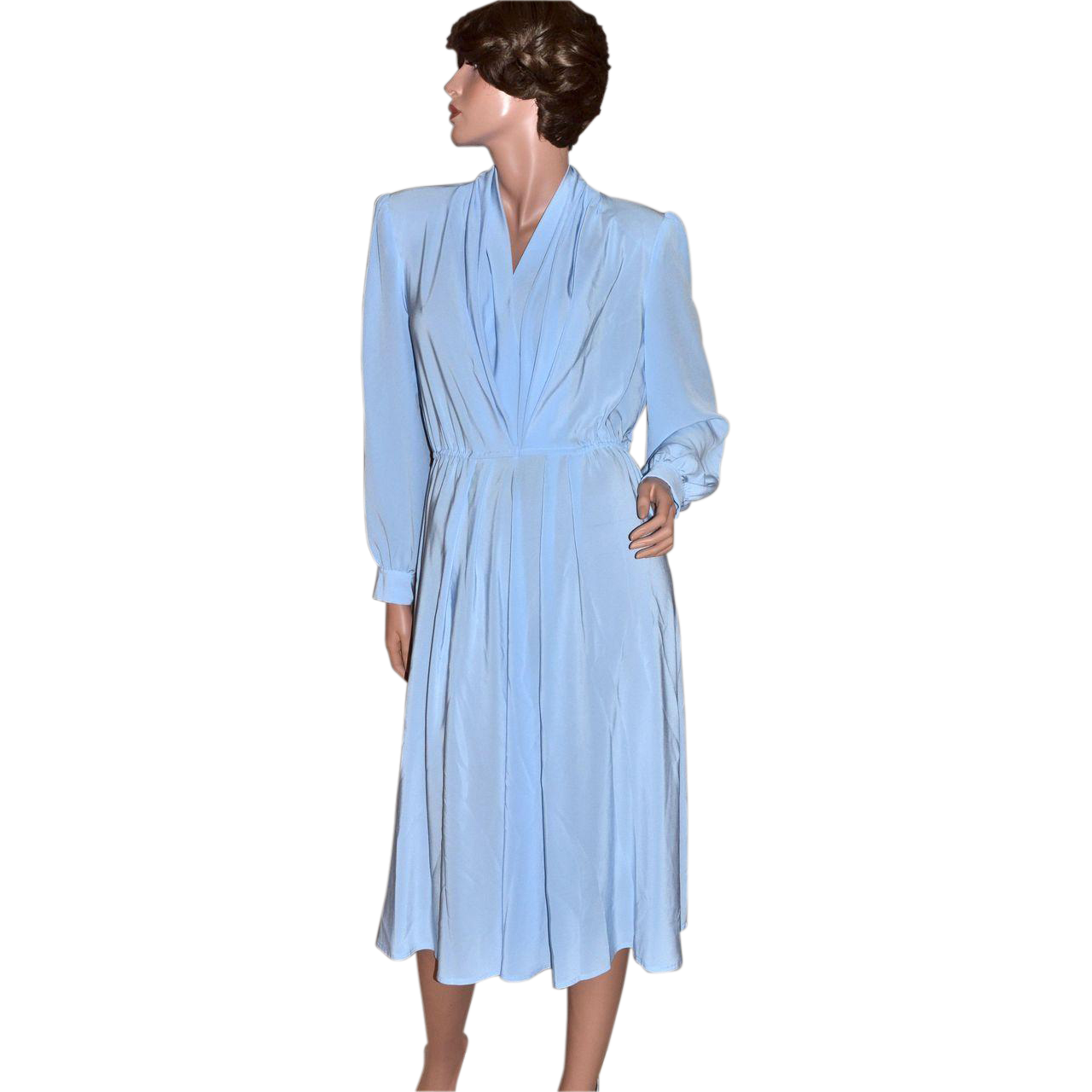 1970s Lilli Ann ILGWU Sky Blue Pleated V-Neck Dress