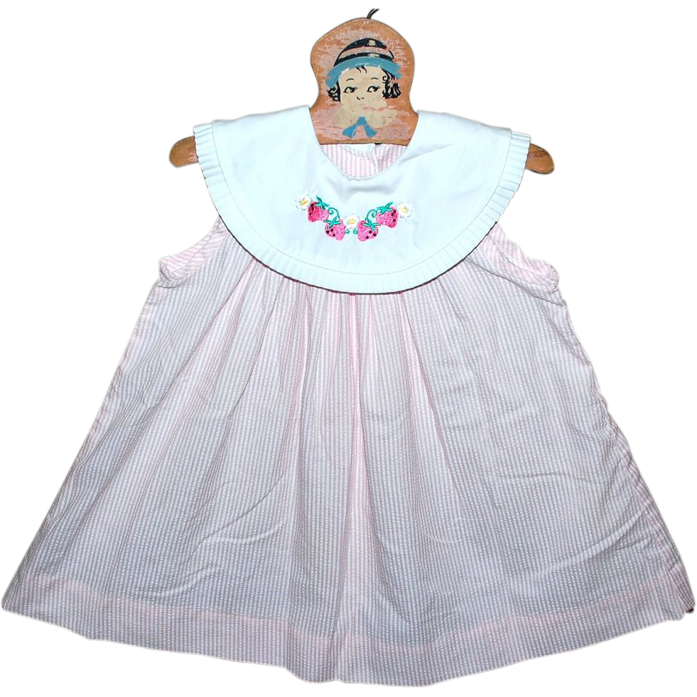 Just Ducky Strawberry Embroidered Pink & White Stripe Child or Doll Dress