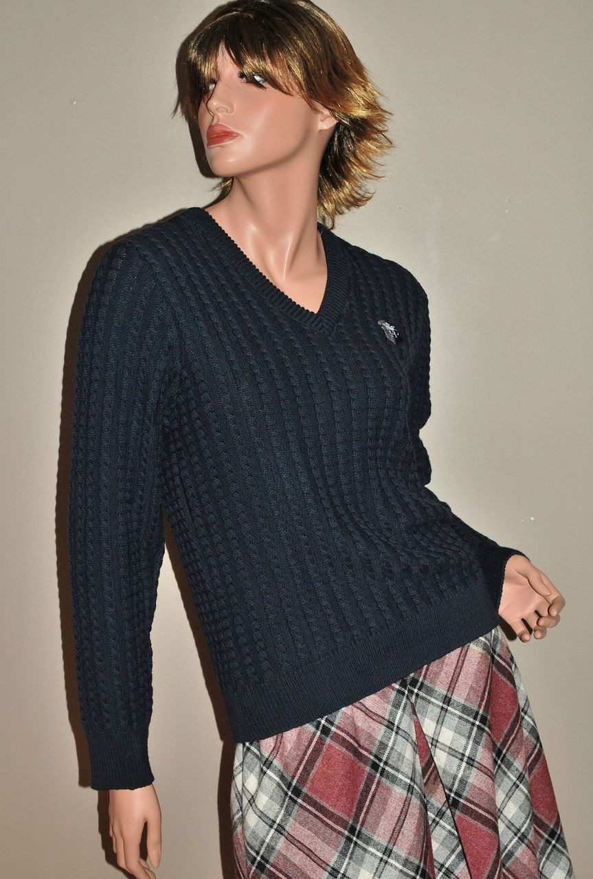 1980s Andrew Rohan ~ Navy Blue Cotton Cable Knit Sweater