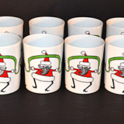 1980s Fitz and Floyd ~ Set of 8 Variations Dancing Santa Mugs w/ Box