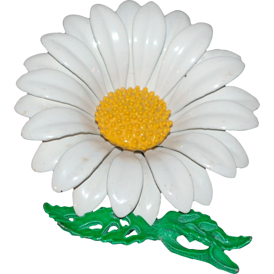 1960s White Daisy Flower Power Pin/Brooch