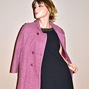 Circa VTG Rothschild  Double-Breasted Pink & Purple Houndstooth Wool Coat
