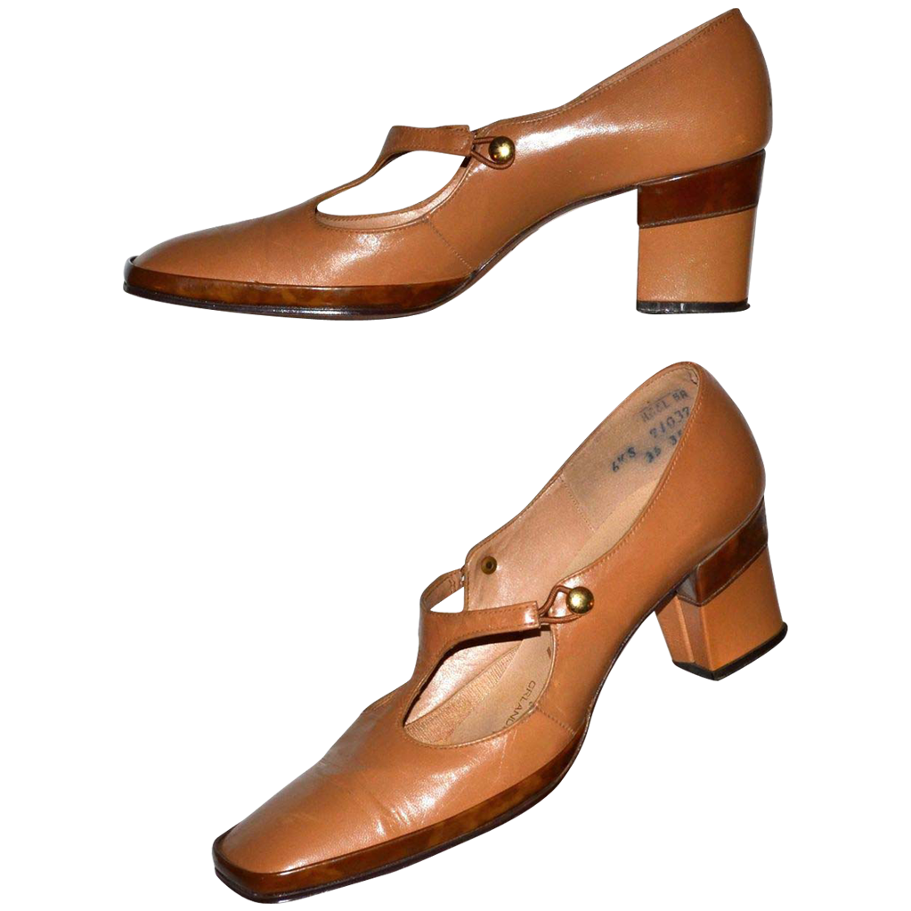1960s Geppetto ~ Camel Tan Leather Faux Tortoise Heels